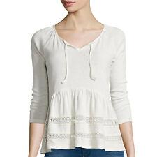 Arizona 3/4-Sleeve Crochet Knit Peasant Top Juniors Size L New Msrp $34.00