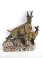 Schweiz Steinbock Gämse Poly Souvenir Magnet,Switzerland,Neu