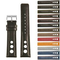 StrapsCo GT Rally Large Holes Racing Leather Watch Band - Quick Release Strap