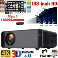 4K HD 1080P LED Mini Projector BT Home Theater Cinema USB HDMI 16800 Lumens