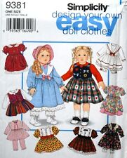 """Simplicity 938118"""" Doll Clothes Pattern Wardrobe Dress Design Your Own - Uncut"""