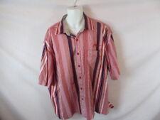 Men's PHAT FARM Red Pink Striped Short Sleeve Dress Shirt - Sz XXXL