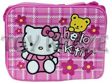 HELLO KITTY LUNCH BOX! PINK WHITE STITCH YELLOW BEAR FLOWERS SCHOOL TOTE BAG NWT