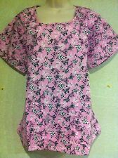 "BRAND NEW ""BLACK BUTTERFLIES"" NURSE SCRUB TOP LARGE (SEE MEASUREMENT BELOW )"