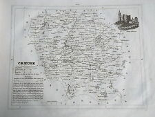 23 Creuse gravure carte géographique Monin 1835 (c11-11)