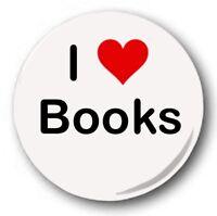 "I LOVE BOOKS - 25mm 1"" Button Badge - Novelty Cute Heart"