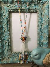 Multi-Color Faceted Crystal Long Strand Tassel Necklace