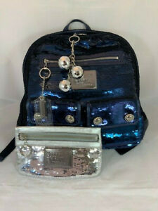Coach Authentic POPPY Sequin Spotlight BACKPACK in Blue Jean - Free Poppy Sequin