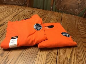 2 Dickies Heavy Weight Tee T-shirt Orange X-Large Chest Pocket Jersey Knit Long