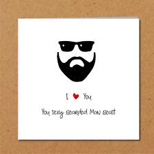 SEXY BEARD valentine day birthday card husband boyfriend male love you bearded