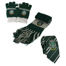 3pcs Harry Potter Slytherin Scarf + Touch Gloves + Necktie Tie Warm Costume Gift