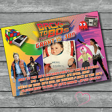 Personalised 80's Style Birthday Party Kids Adults Invitaitons Invites - Pk 10