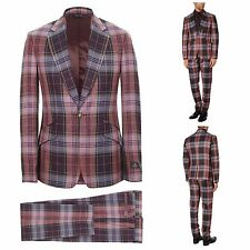NWT VIVIENNE WESTWOOD RED SLIM FIT ONE BUTTON MORNING GLORY TARTAN SUIT. UK 38R.