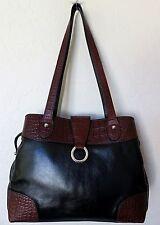Jack Georges Tote Bag Black Brown Leather Shoulder Handbag