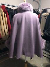 Lilac  Cashmere Wool cape with  fox fur Collar & Cuff Trim With Belt