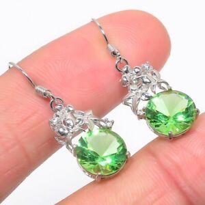 """Peridot & Cubic Zirconia 925 Sterling Silver Jewelry Earring 1.37"""" S2672"""