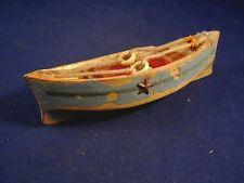 Ancien jouet miniature bateau canot bois laqué barque pêcheur bassin