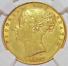 1872 GOLD GREAT BRITAIN VICTORIA YOUNG HEAD SHIELD SOVEREIGN NGC ABOUT UNC 53