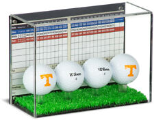 Clear Four(4) Golf Ball Display Case with Black Back and Turf Floor (A045B-TB)