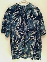 Caribbean Joe Mens Blue Hawaiian Cruise Vacation Short Sleeve Shirt M Medium