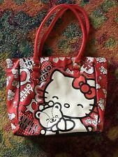 NWOT SANRIO HELLO KITTY LARGE TOTE HANDBAG BAG RED BLACK WHITE SIMULATED LEATHER