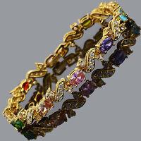 Xmas Rhinestone Oval Cut Multi-Color Tennis Infinity 18K Gold Plated Bracelet