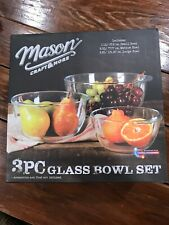 Mason Craft and More 3 Piece Glass Mixing Bowl Set NEW Great Gift