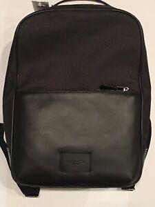 Mens Coach Westway Tech Backpack Black Leather / Nylon Laptop Work School Bag