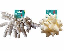 18 x Asda Silver Curly Gift Ribbon + 18 x Cream Gift Bow - Self-Adhesive