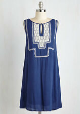 NWT All's Belle That Ends Well Dress (Modcloth) Sleeveless - Blue White Lace - S