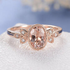 14K Rose Gold Finish Oval Cut Morganite Engagement Diamond Ring Antique Art Deco