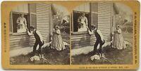 Scena Da Genere Gallantry Foto Weller Littleton USA Stereo Vintage Albumina