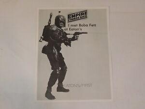 Vintage Star Wars I met Boba Fett at Eaton's 8x10 Promo Page Photo Leaflet