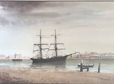 John Ford Watercolour Painting  Ship Moored In Harbour- Maritime Seascape