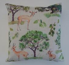 Scandi Antelope Forest Greens Brown Tan Floral Linen Blend Cushion Cover 45cm