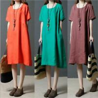 New Korean Women Cotton Linen Solid Casual Loose A-line Maxi Tunic Summer Dress