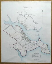 FALMOUTH, FLUSHING, CORNWALL, Street Plan, Dawson  Original antique map 1832
