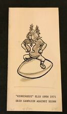 Walt Munson Original hand Drawn Cartoon Art Elis Open Football UCONN Yale 1971