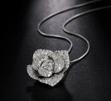 18k White Gold Platinum GF Pendant Necklace made w Swarovski Pave Crystal Flower