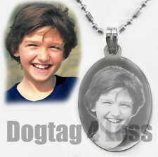Custom photo Text Engraving Mini Oval Dogtags Pendant Necklace Christmas GIft