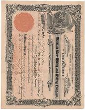 1907 Stock Certificate Mountain View Mining & Milling Co of Arizona McPherson KS