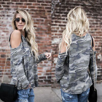 Women Camouflage Long Sleeve Blouse Loose Casual Cold Shoulder Tops T Shirt S-XL