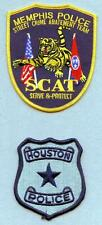 X170 Lot of 2 Police Patches, Memphis SCAT  Police, & Houston Police