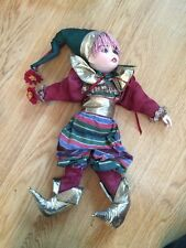 Vintage Porcelain Doll Fabric Body Clown Jester Girl Makeup Satin Flowers Color