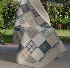 Quilted Throw  Blanket For Sofa Plaid Squares Cotton Quilt Couch Chair Lap Cover