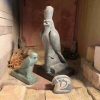 Egyptian statue set -Horus the sky god 2 figures + amulet Egyptian art/sculpture