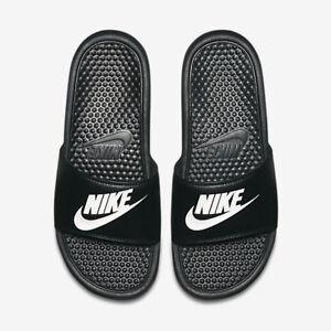 NWT Nike Benassi JDI Black white Men's Slides slide 8 9 11 12 13 - 15 flip flop