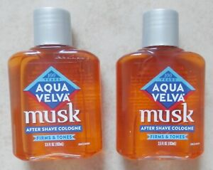 2 Aqua Velva Musk After Shave Cologne - Firms & Tones - 3.5 Oz Each