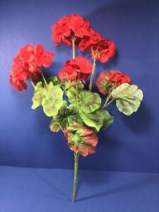 "New,18"" Red Geranium Bush, Pack of 3, Artificial Flowers"