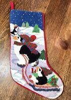 Finished Needlepoint Christmas Stocking Sledding Penguins On Snow Red Velvet